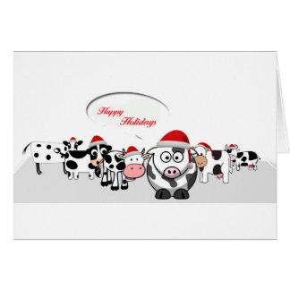 Tarjeta Vacas lindas del navidad buenas fiestas