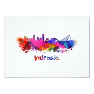 Tarjeta Valencia skyline in watercolor