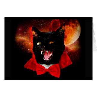 Tarjeta vampiro del gato - gato negro - gatos divertidos