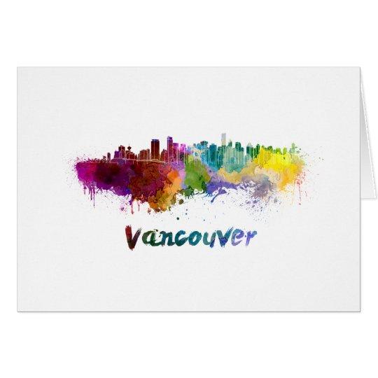 Tarjeta Vancouver skyline in watercolor