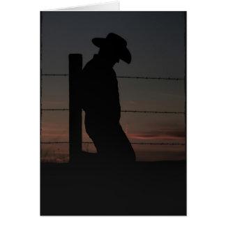 Tarjeta Vaquero en la puesta del sol
