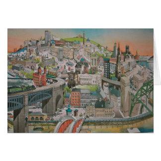 Tarjeta Ve el pasado y presente de Newcastle sobre Tyne