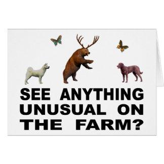 Tarjeta ¿Vea cualquier cosa inusual en la granja?