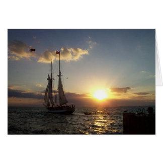 Tarjeta Vela de la puesta del sol