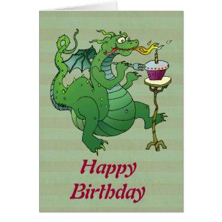 Tarjeta Velas del cumpleaños del dragón que soplan