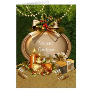 Tarjeta Velas y ornamentos elegantes del navidad