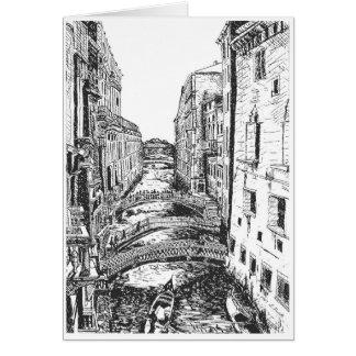 Tarjeta Venecia en pluma y tinta
