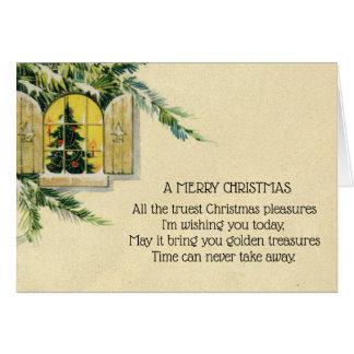 Tarjeta Ventana del día de fiesta del árbol de navidad del
