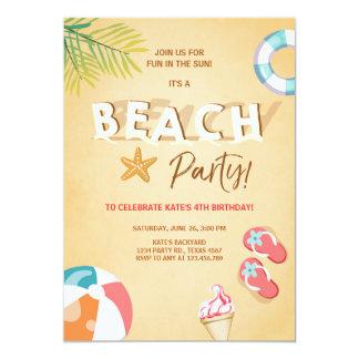 Tarjeta Verano del Bbq del cumpleaños de la playa de la