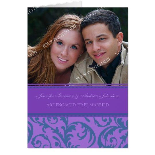 Tarjeta verde azulada púrpura de la invitación de