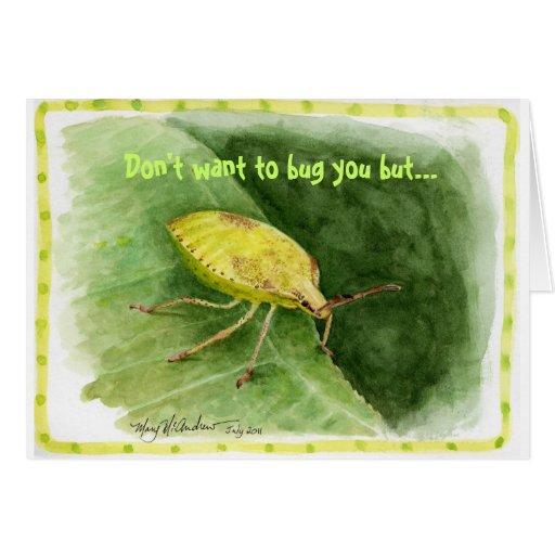 Tarjeta verde clara del recordatorio del insecto d