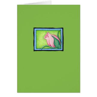 Tarjeta verde color de rosa de la tarjeta del día