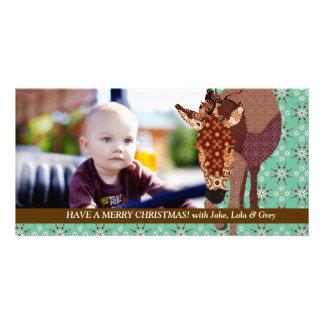 Tarjeta verde de la foto de los Felices Navidad de Tarjetas Personales Con Fotos