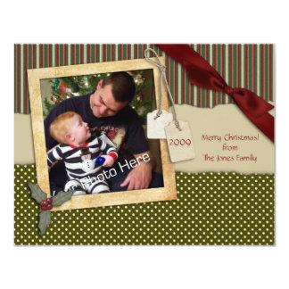 Tarjeta verde de la foto del navidad del pedazo de invitación 10,8 x 13,9 cm