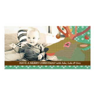 Tarjeta verde de la foto del navidad del reno tarjeta con foto personalizada
