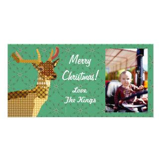 Tarjeta verde de la foto del navidad festivo de lo tarjetas fotográficas personalizadas