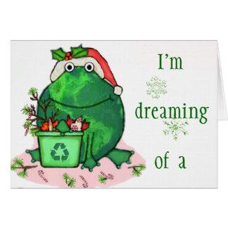 Tarjeta verde de la rana de Santa del navidad del