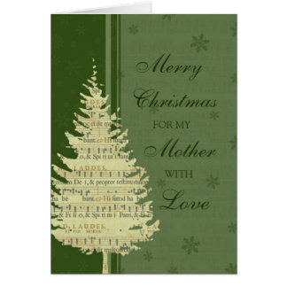 Tarjeta verde de las Felices Navidad de la madre d