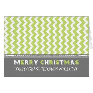 Tarjeta verde de las Felices Navidad de los nietos