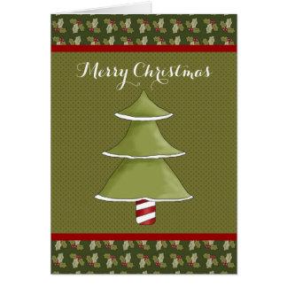 Tarjeta verde de las Felices Navidad del acebo