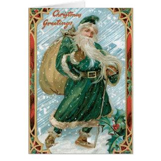 Tarjeta verde de las Felices Navidad del vintage