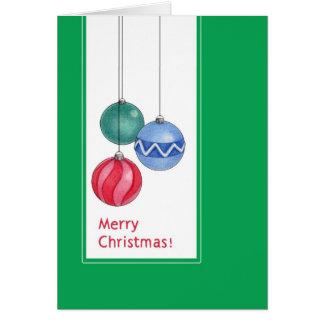 Tarjeta verde de los ornamentos del navidad