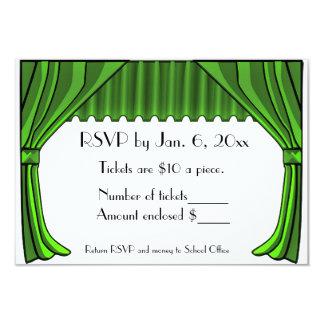 Tarjeta verde de RSVP de las cortinas del teatro Invitación 8,9 X 12,7 Cm
