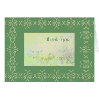 Tarjeta verde del de agradecimiento