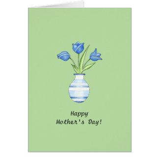 Tarjeta verde del día de madre de los tulipanes az