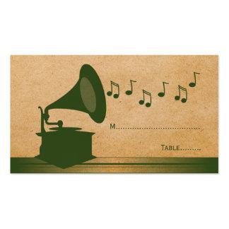 Tarjeta verde del lugar del gramófono del vintage tarjetas de visita