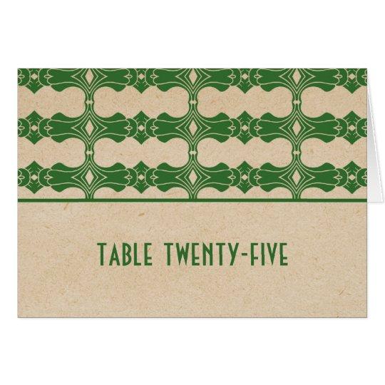 Tarjeta verde del número de la tabla de la
