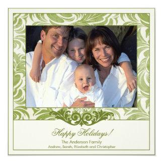 Tarjeta verde elegante de la foto del navidad del invitación 13,3 cm x 13,3cm