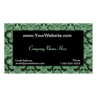 Tarjeta verde neutral negra del perfil del damasco tarjetas de visita