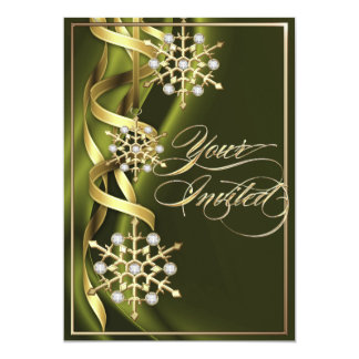 Tarjeta verde oliva Jeweled del día de fiesta del Invitaciones Personalizada