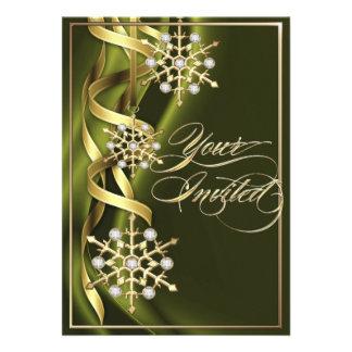 Tarjeta verde oliva Jeweled del día de fiesta del