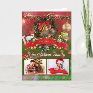 Elegant Red Green Christmas Wreath Holiday Card