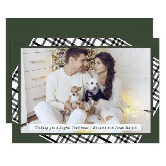 Tarjeta Verde rústico del pino y foto del navidad de la