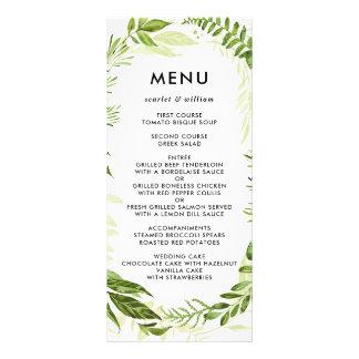 Tarjeta verde salvaje del menú del boda del tarjetas publicitarias