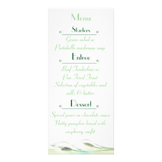 Tarjeta verde y blanca del menú del boda de la