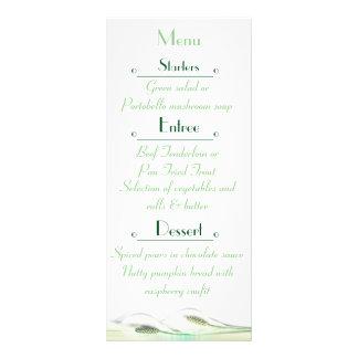 Tarjeta verde y blanca del menú del boda de la diseños de tarjetas publicitarias
