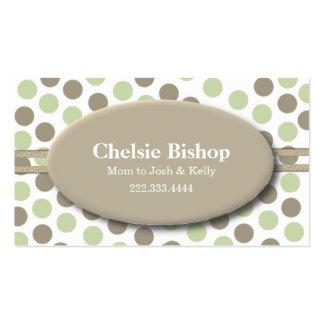 Tarjeta verde y de color topo de moda de la mamá d plantilla de tarjeta de negocio