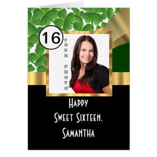 Tarjeta Verde y dulce personalizado oro dieciséis