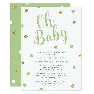 Tarjeta Verde y fiesta de bienvenida al bebé del purpurina