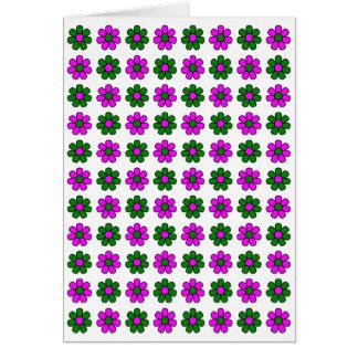 Tarjeta verde y magenta de las flores