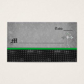 Tarjeta verde y negra de la cruz céltica esmeralda