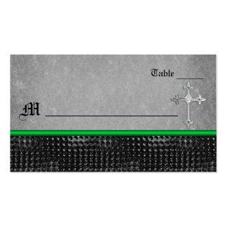 Tarjeta verde y negra de la cruz céltica esmeralda tarjetas de visita