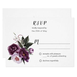 Tarjeta Verdor púrpura RSVP #1 de los Peonies del rosa del