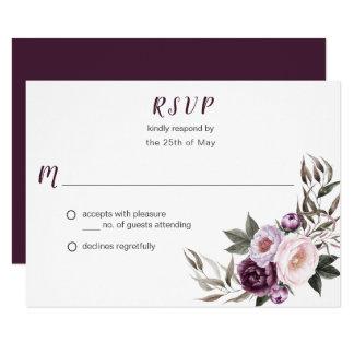 Tarjeta Verdor púrpura RSVP #2 del ramo de los Peonies del
