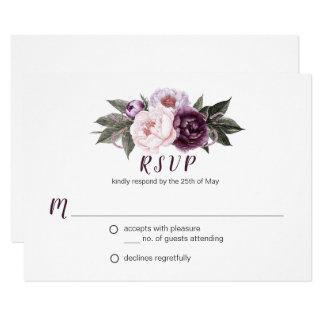 Tarjeta Verdor púrpura RSVP #3 del ramo de los Peonies del