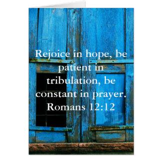 Tarjeta Verso de la biblia del 12:12 de los romanos sobre
